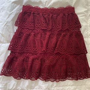 Self Portrait Burgundy Lace Skirt